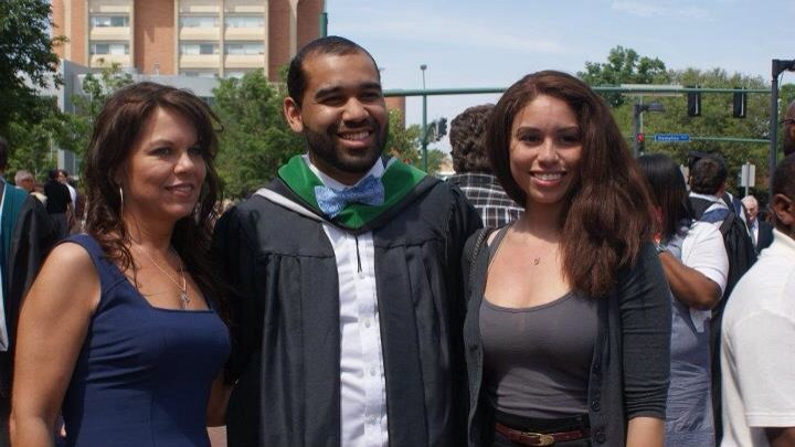 Devon, his mother and sister